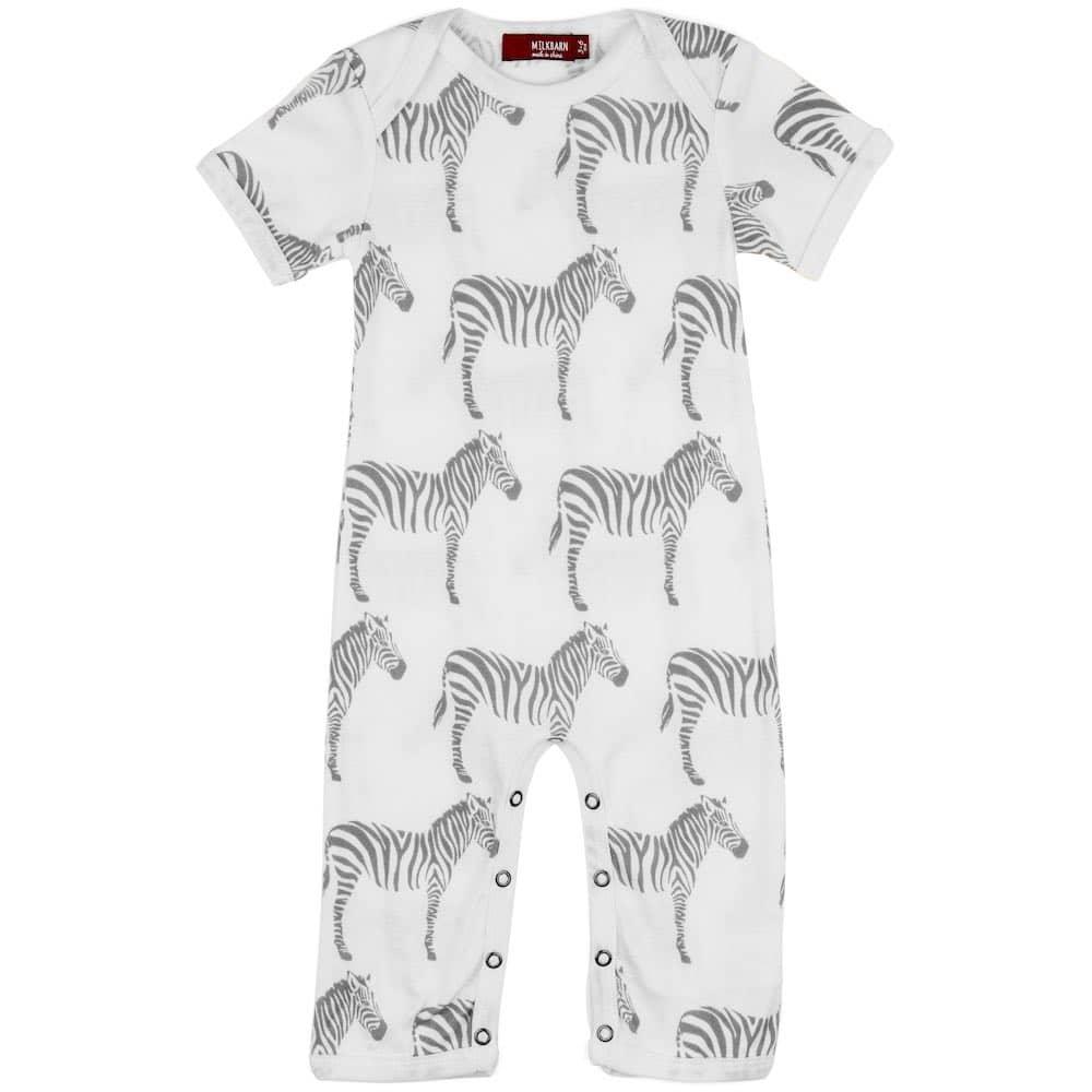 Organic Cotton Baby Romper Jumpsuit in the Grey Zebra Wildlife Print by Milkbarn Kids