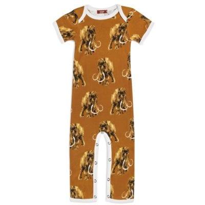 Organic Cotton Baby Romper Jumpsuit in the Woolly Mammoth Wildlife Print by Milkbarn Kids