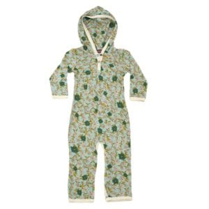 Mint or Muted Green and Blue Bamboo Hooded Romper or Jumpsuit in the Blue Floral or Flower Print by Milkbarn Kids