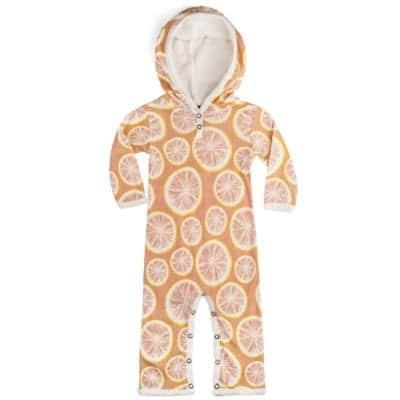 Muted Orange Organic Cotton Hooded Romper or Jumpsuit in the Grapefruit Citrus Print by Milkbarn Kids