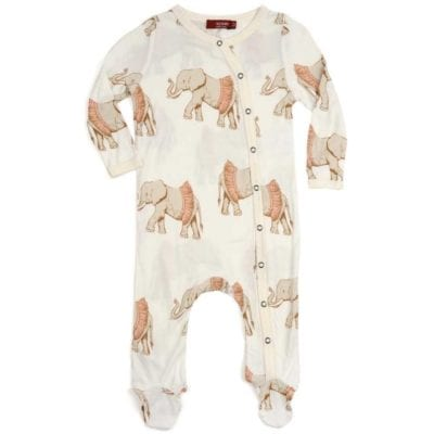 Milkbarn Kids Bamboo Baby Footed Romper Jumpsuit or Footie in the Tutu Elephant Print
