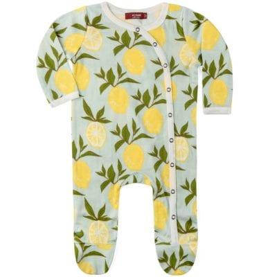 Milkbarn Kids Organic Baby Footed Romper Jumpsuit or Footie in the Lemon Print