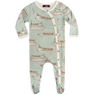 Milkbarn Kids Bamboo Baby Footed Romper Jumpsuit or Footie in the Blue Ships Print