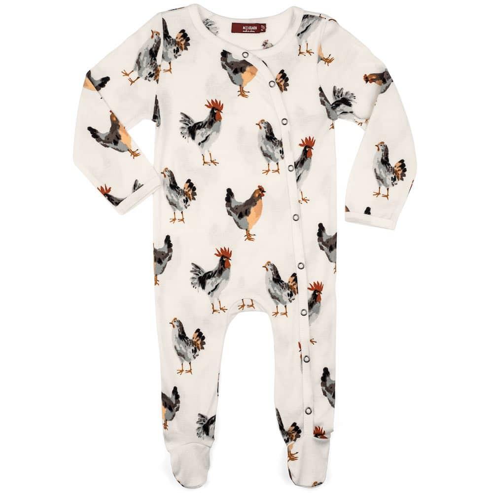Milkbarn Kids Organic Baby Footed Romper or Footie in the Chicken Print