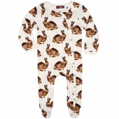Milkbarn Kids Organic Baby Footed Romper Jumpsuit or Footie in the Bunny Print