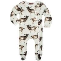 37101 - Milkbarn Kids Organic Baby Footed Romper in the Goat Print