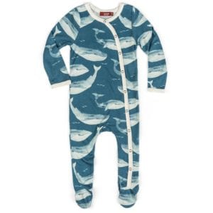 Milkbarn Kids Bamboo Baby Footed Romper Jumpsuit or Footie in the Blue Whale Print