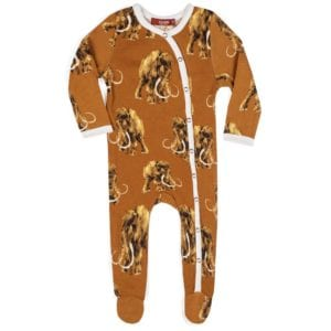 Milkbarn Kids Organic Cotton Baby Footed Romper Jumpsuit or Footie in the Woolly Mammoth print