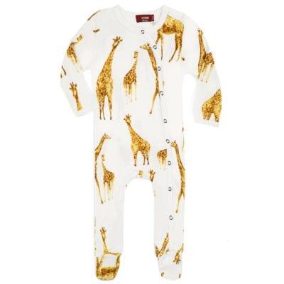 Milkbarn Kids Bamboo Baby Footed Romper Jumpsuit or Footie in the Orange Giraffe Print