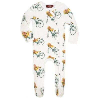 Milkbarn Kids Bamboo Baby Footed Romper Jumpsuit or Footie in the Floral Bicycle Print