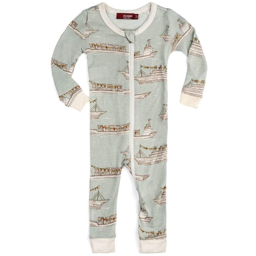 Milkbarn Kids Bamboo Baby Zipper Pajamas or PJs in the Blue Ships Print