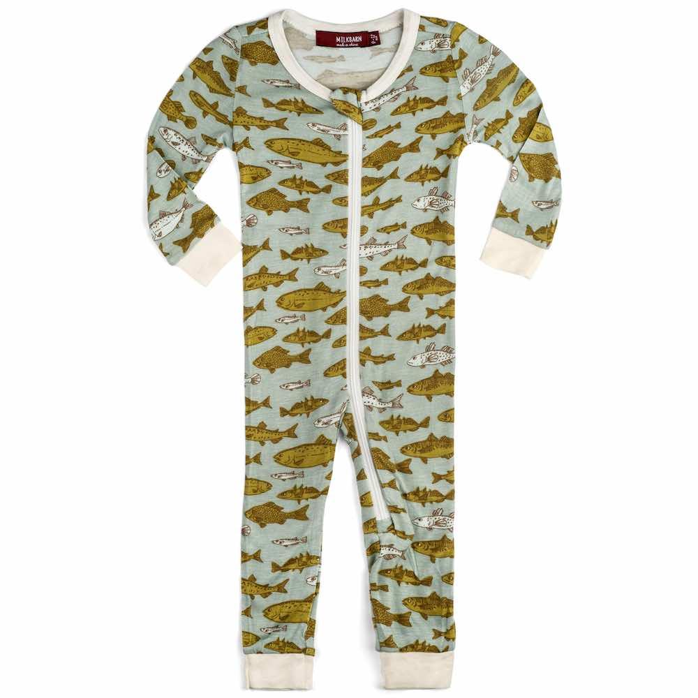 Milkbarn Kids Bamboo Baby Zipper Pajama or PJs in the Blue Fish Print