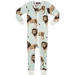 Milkbarn Kids Bamboo Baby Zipper Pajama or PJs in the Lion Print