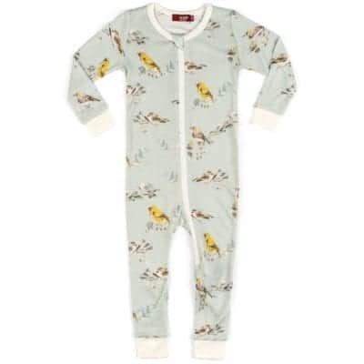 Milkbarn Kids Bamboo Baby Zipper Pajama or PJs in the Blue Bird Print