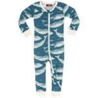 38104 - Milkbarn Kids Bamboo Baby Zipper Pajama or PJs in the Blue Whale Print