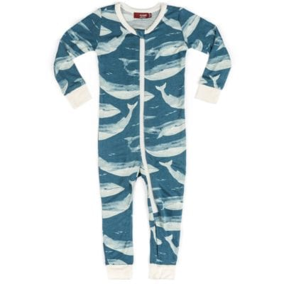 Milkbarn Kids Bamboo Baby Zipper Pajama or PJs in the Blue Whale Print