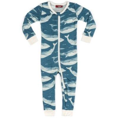 Milkbarn Kids Bamboo Baby Zipper Pajama or PJs in the Blue Whale Print