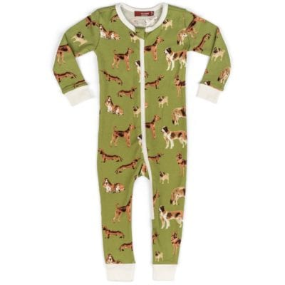 Milkbarn Kids Organic Cotton Baby Zipper Pajama or PJs in the Green Dog Print