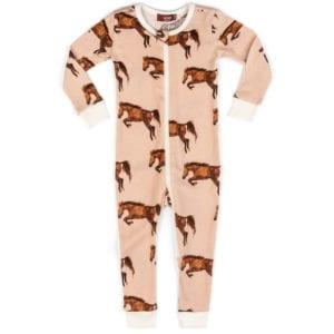 Milkbarn Kids Organic Cotton Baby Zipper Pajama or PJs in the Horse Print