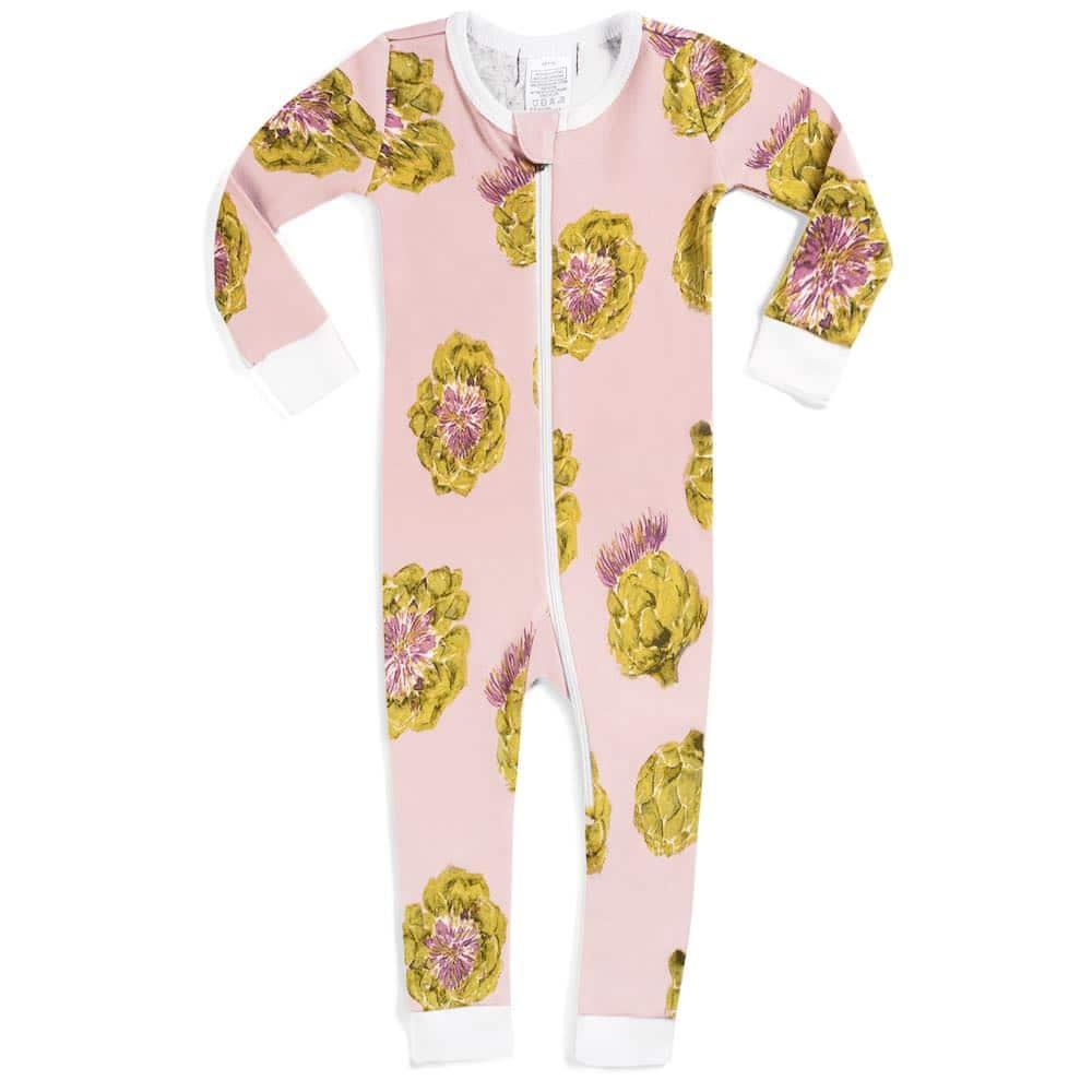 Milkbarn Kids Organic Cotton Baby Zipper Pajama or PJs in the Artichoke Print