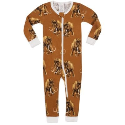 Milkbarn Kids Organic Cotton Baby Zipper Pajama or PJs in the Woolly Mammoth Print