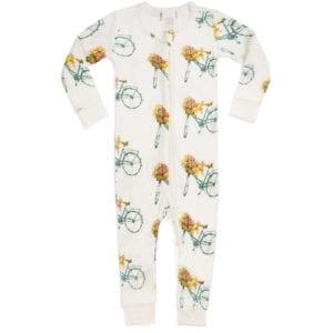 Milkbarn Kids Organic Cotton Baby Zipper Pajama or PJs in the Floral Bicycle Print