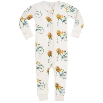 Milkbarn Kids Organic Cotton Baby Zipper Pajama or PJs in the Floral Bicycle Print