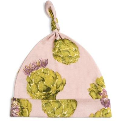 Milkbarn Kids Organic Knotted Hat or Beanie in the Artichoke Vegetable Print