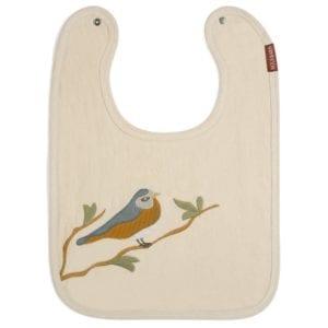 Milkbarn Applique Linen Bib with Bird applique