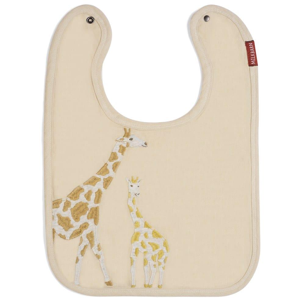 Milkbarn Applique Linen Bib with Giraffe applique
