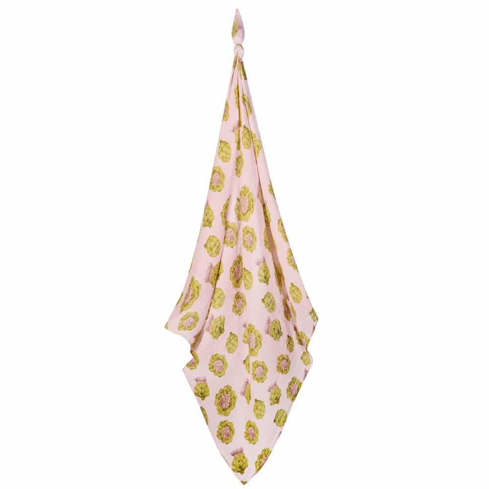 Newborn and Baby Organic Cotton Swaddle in the Artichoke Print by Milkbarn Kids