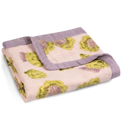 Folded Rose or Pink Color Big Lovey Blanket with the Artichoke Vegetable Print Made of Organic Cotton and Bamboo by Milkbarn Kids