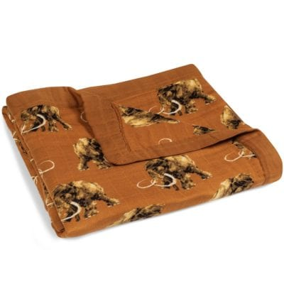 Folded Burnt Orange Big Lovey Blanket with the Woolly Mammoth Wildlife Print Made of Organic Cotton and Bamboo by Milkbarn Kids