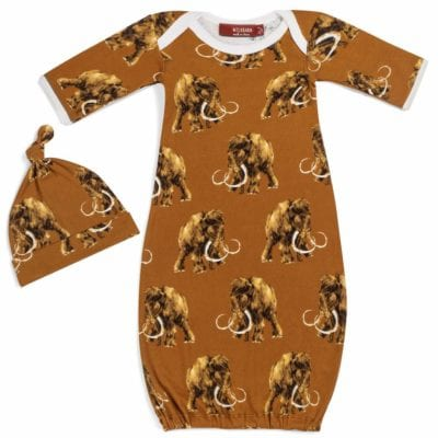 Rust or Orange Organic Cotton Newborn and Baby Gown and Hat Set in the Woolly Mammoth Wildlife Print by Milkbarn Kids