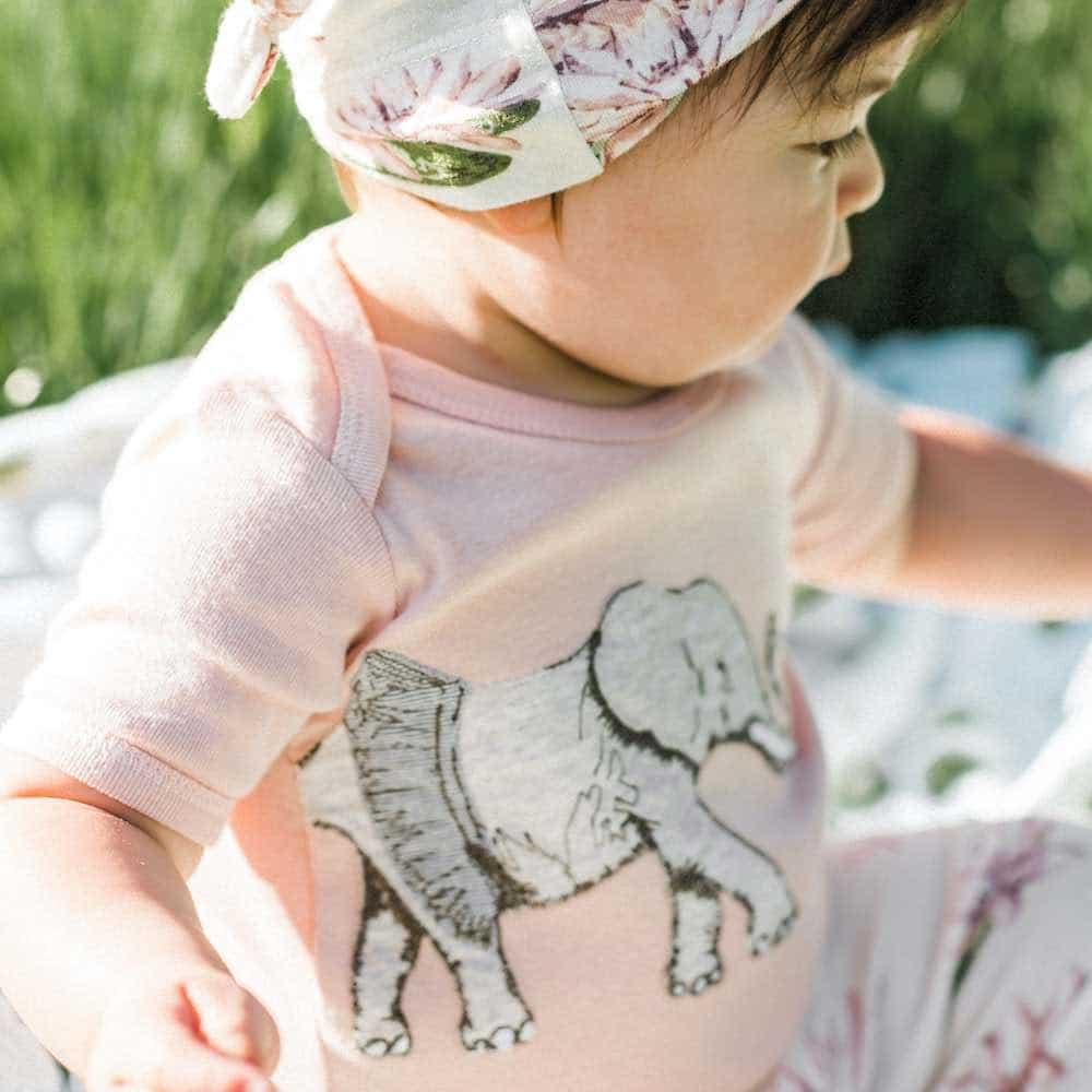 Organic Cotton Applique One Piece or Onesie in the Tutu Elephant Applique by Milkbarn Kids