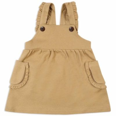 Baby or Child's Ruffle Dress Overalls in the Organic Cotton and Recycled Polyester Blend Rust Colored Denim Fabric by Milkbarn Kids (Front)