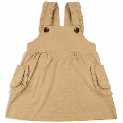 Baby or Child's Ruffle Dress Overalls in the Organic Cotton and Bamboo Blend Rust Colored Pinstripe Fabric by Milkbarn Kids (Front)
