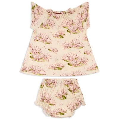 Rose or Light Pink Color Baby Girl Bamboo Dress and Bloomers with the Water Lily Print by Milkbarn Kids