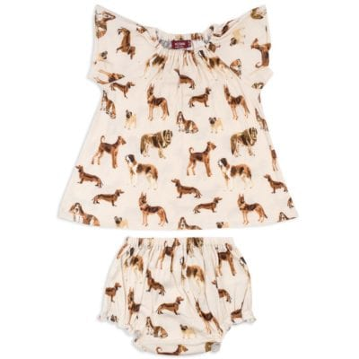Natural Color Baby Girl Organic Cotton Dress and Bloomers with the Natural Dog Print by Milkbarn Kids