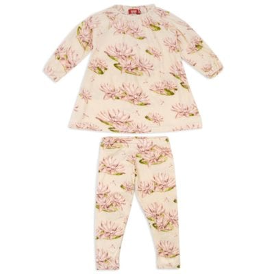 Milkbarn Kids Bamboo Dress and Legging Set in the Water Lily Print