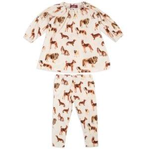 Milkbarn Kids Organic Dress and Legging Set in the Natural Dog Print