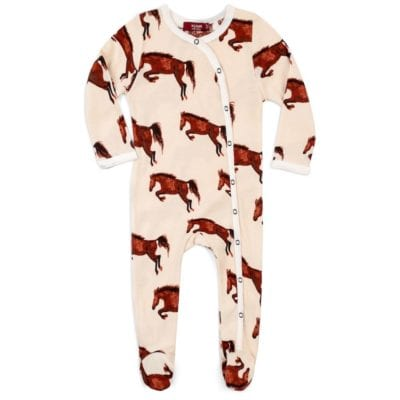 Milkbarn Kids Organic Cotton Footed Romper Jumpsuit or Footie in the Natural Horse Print