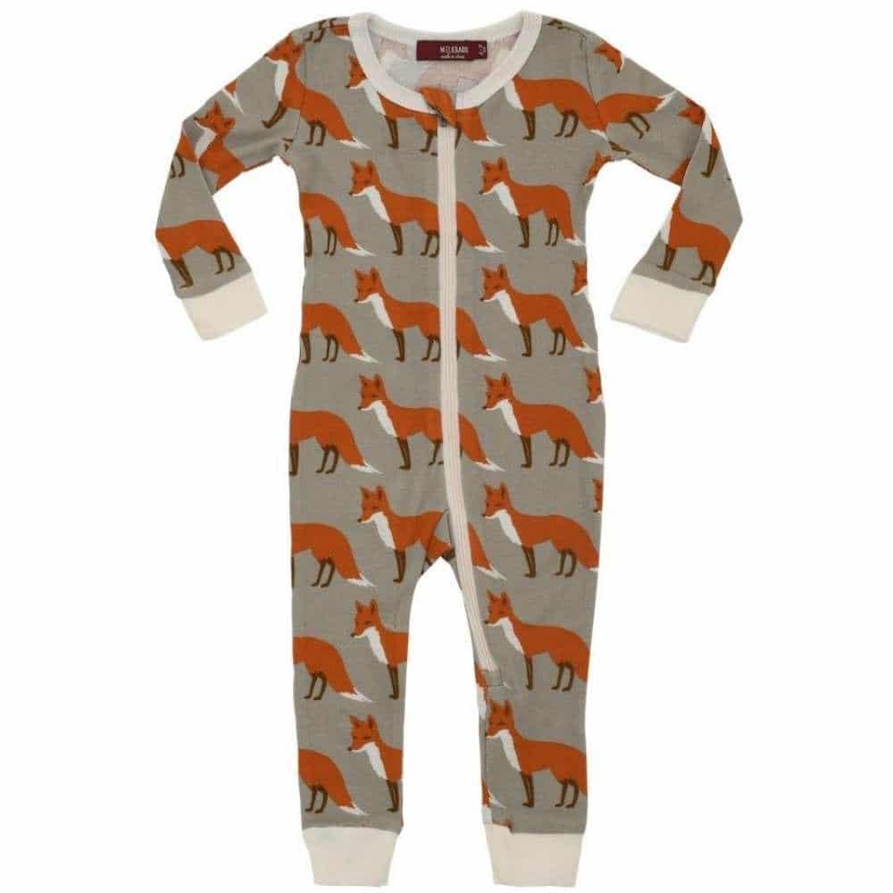 Milkbarn Kids Organic Cotton Zipper Pajama or PJs in the Orange Fox Print