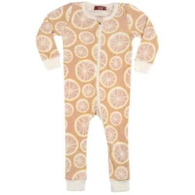 Milkbarn Kids Organic Cotton Zipper Pajama or PJs in the Grapefruit Print