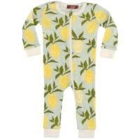 38089 - Milkbarn Kids Zipper Pajama in the Lemon Print