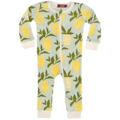Milkbarn Kids Organic Cotton Zipper Pajama or PJs in the Lemon Print