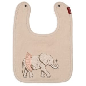 Milkbarn Kids Organic Applique Linen Bib with the Tutu Elephant Applique