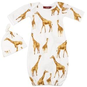 White Color Organic Cotton Newborn and Baby Gown and Hat Set in the Orange Giraffe Wildlife Print by Milkbarn Kids