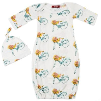 White Color Organic Cotton Newborn and Baby Gown and Hat Set in the Floral or Flower Bicycle Print by Milkbarn Kids
