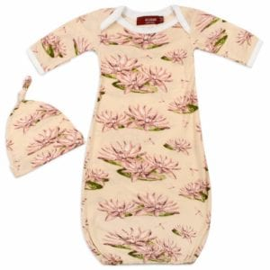 Bamboo Newborn and Baby Gown and Hat Set in the Water Lily Print by Milkbarn Kids